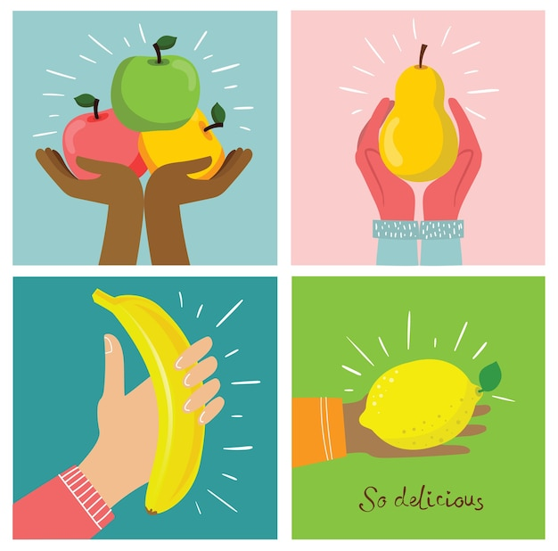 Groep vers fruit met handen. dieet concept. vectorillustraties in de vlakke stijl