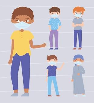 Groep verschillende jongens die gezichtsmasker dragen voor virusbescherming