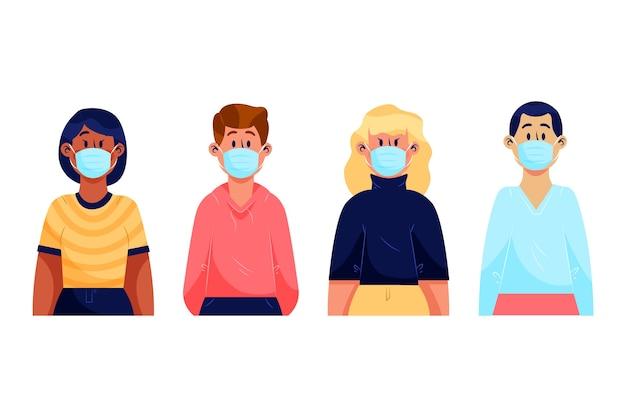 Groep verschillende mensen die medische maskers dragen