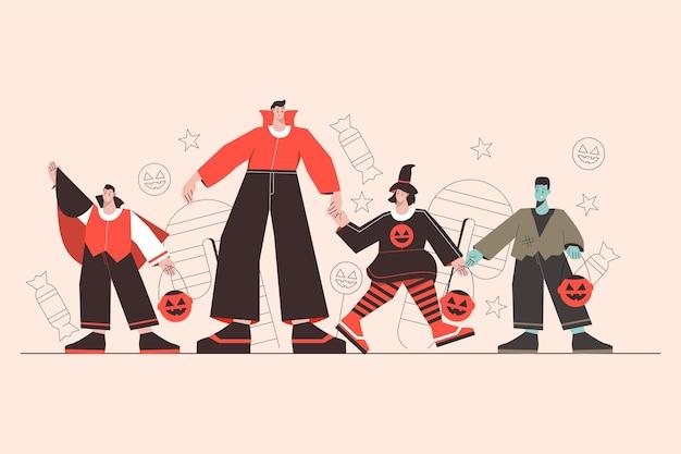 Groep verschillende mensen in halloween-kostuums