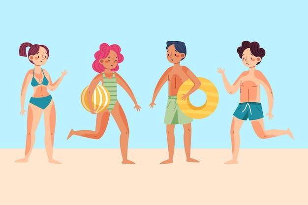 Groep verschillende mensen met zonnebrand