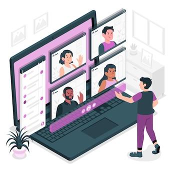 Groep video concept illustratie
