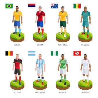 Groep voetbal voetbalspeler nationale team van de wereld