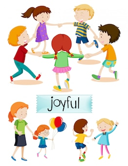 Groep vreugdevolle mensen