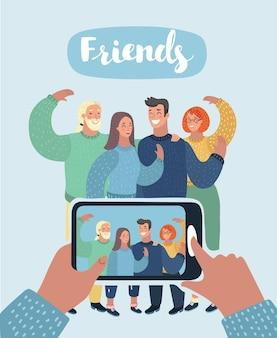 Groep vrienden die een foto maken en lachen