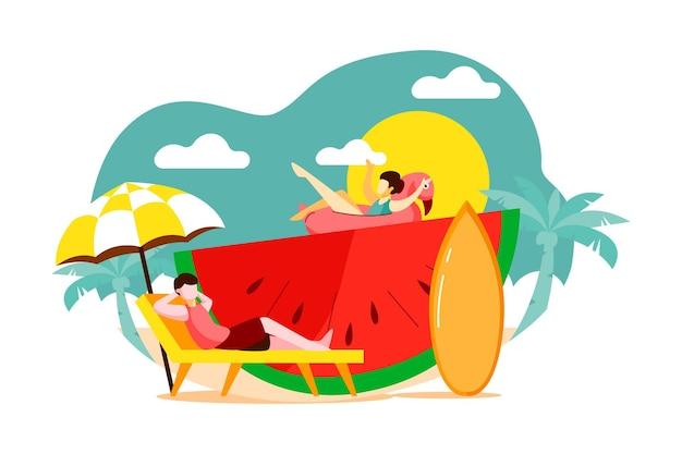 Groep vrienden die genieten van zomeractiviteiten