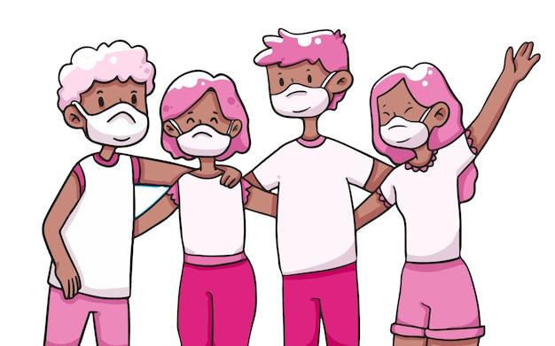 Groep vrienden die masker covid-19 illustratie dragen