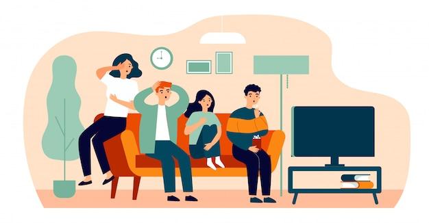 Groep vrienden die op enge film vlakke vectorillustratie letten