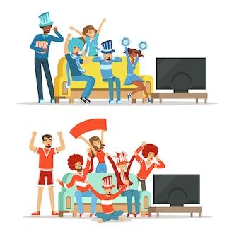 Groep vrienden die op sporten op tv letten en thuis overwinning vieren.