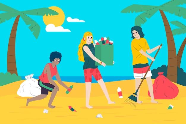 Groep vrienden die strand schoonmaken