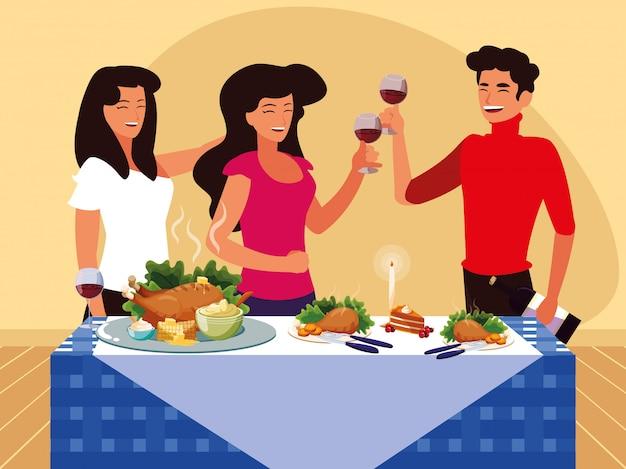 Groep vrienden die thanksgiving vieren