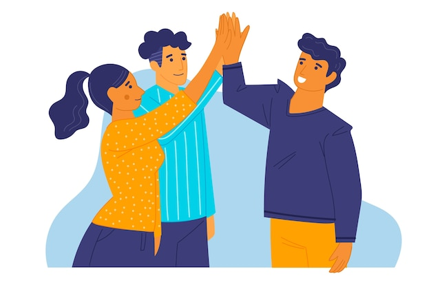 Groep vrienden geven high five