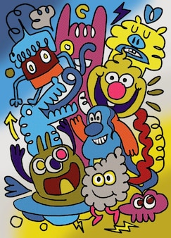 Groep vrienden grappig, illustratie, schattige hand getrokken doodles,