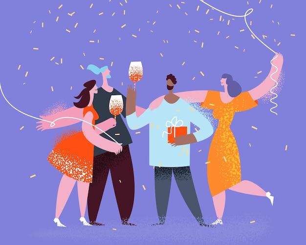 Groep vrienden maken feestviering verjaardag carnaval jubileum