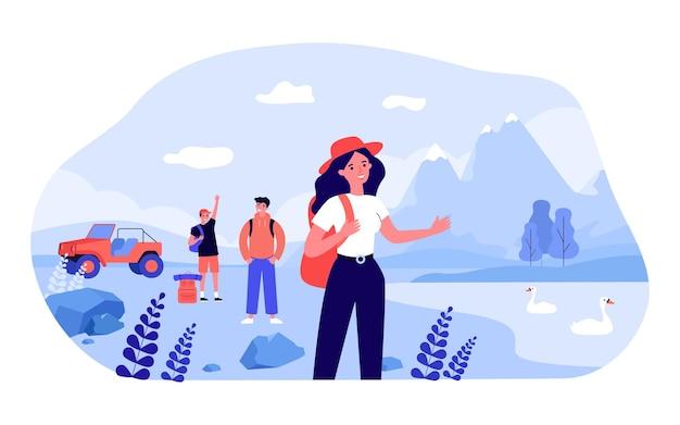 Groep vrienden op wandeltocht in de bergen. gelukkig backpacker in de buurt van meer met zwanen platte vectorillustratie. kamperen, buitenactiviteiten, vakantieconcept voor banner, websiteontwerp of bestemmingswebpagina