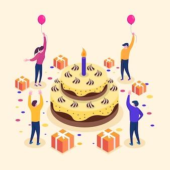 Groep vrolijke mensen die verjaardagspartij vieren