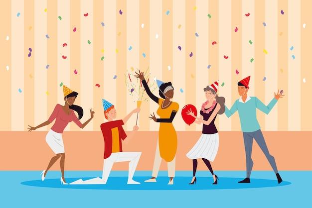 Groep vrolijke mensen vieren verjaardagsfeestje