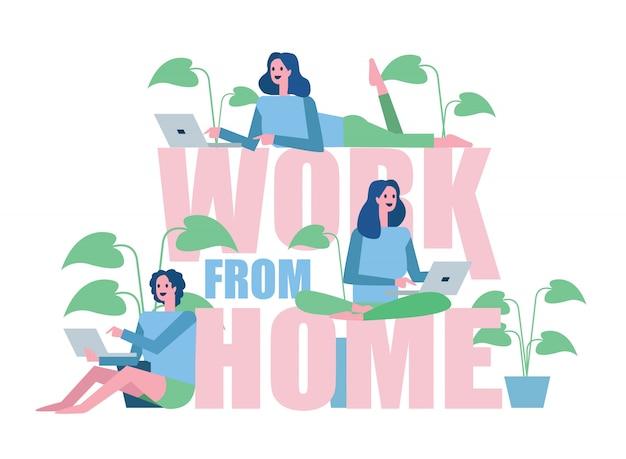 Groep vrouw die van huis werkt. home quarantaine conceptontwerp. illustratie