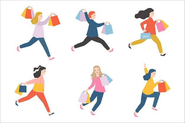 Groep vrouw met boodschappentas.