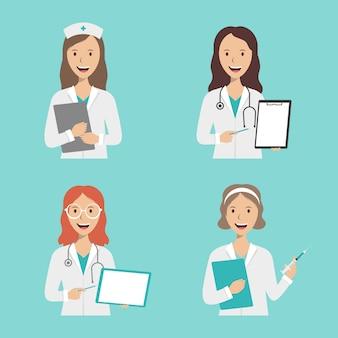 Groep vrouwelijke artsen en verpleegkundigen op een blauwe achtergrond met logo
