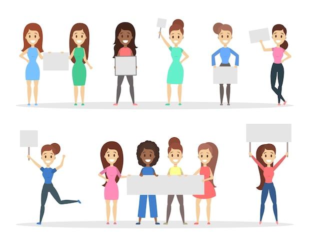Groep vrouwen die lege witte aanplakbiljetten in de handen houden. promotie en reclame. geïsoleerde platte vectorillustratie