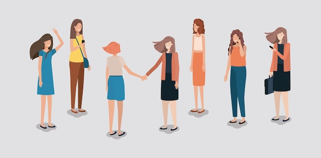 Groep vrouwen die smartphone gebruiken