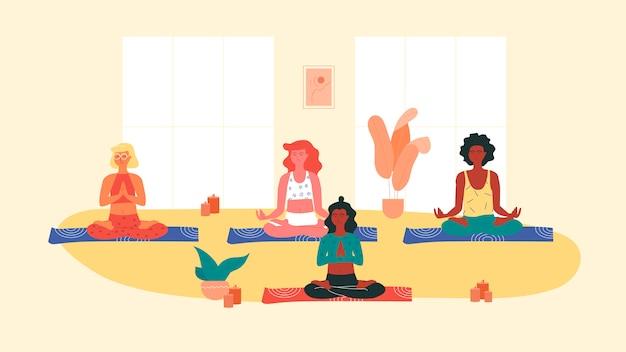 Groep vrouwen die van verschillend ras yoga doen tijdens yogasessie. yoga, stretching en pilates instructeur.