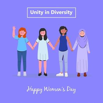 Groep vrouwen diversiteit internationale gemeenschap vrouwendag
