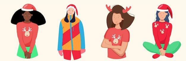Groep vrouwen in kleding met hertenprints