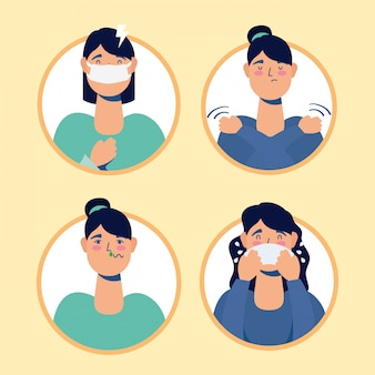 Groep vrouwen met coronavirus symptomen