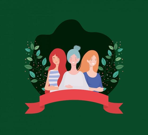 Groep vrouwen permanent met lint en bladeren