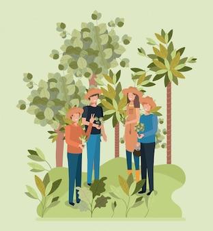 Groep vrouwen planten van bomen in het park