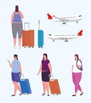Groep vrouwen reizigers en grote commerciële vliegtuigen vector illustratie ontwerp