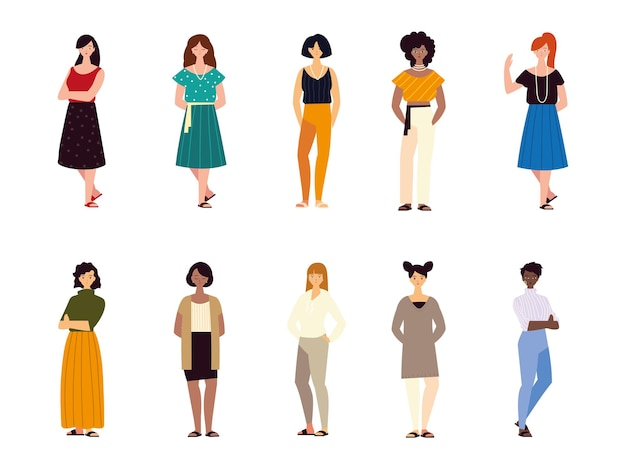 Groep vrouwen vrouwelijke karakters verschillende nationaliteiten cultuur illustratie