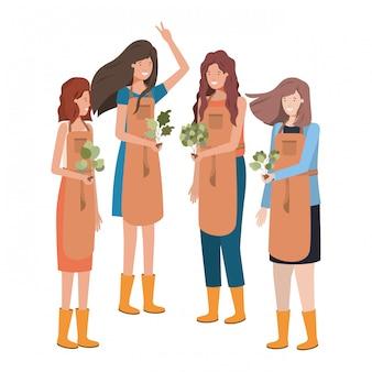 Groep vrouwentuinlieden die avatar karakter glimlachen