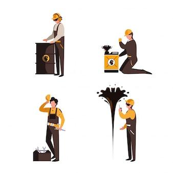 Groep werknemers olie-industrie