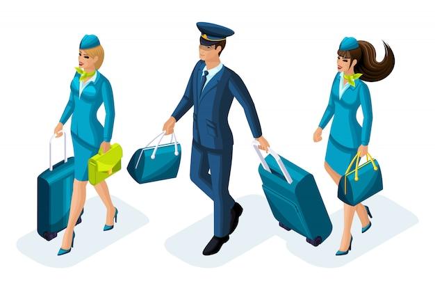 Groep werknemers van internationale luchtvaartmaatschappijen, stewardessen, piloot, gezagvoerder van een vliegtuig. vliegtuig voor reizen