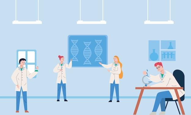 Groep wetenschappelijk met microscooponderzoeksvaccin in laboratorium