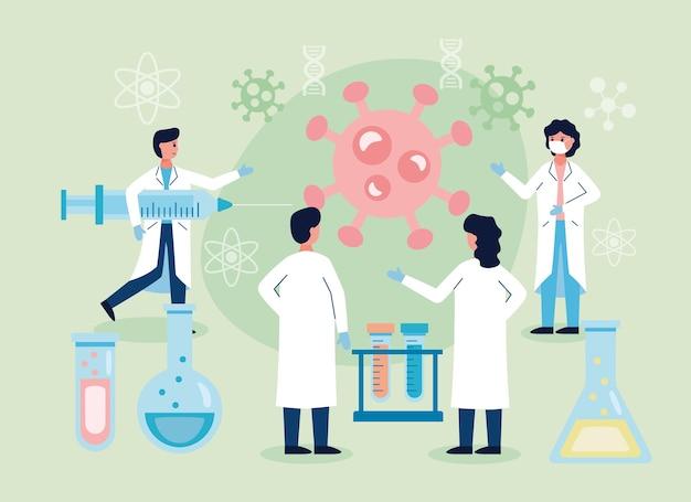 Groep wetenschappelijke met laboratoriumapparatuur vaccinonderzoek