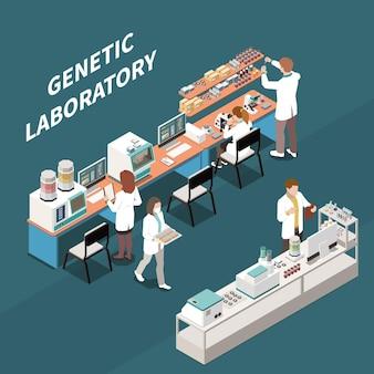 Groep wetenschappers die werken in genetisch laboratorium 3d isometrische illustratie