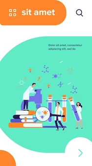 Groep wetenschappers met microscoop, chemische buizen en boeken die epidemiologisch onderzoek doen. chemici bestuderen coronavirusproeven in medisch laboratorium