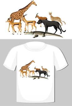 Groep wilde dieren ontwerp voor t-shirt
