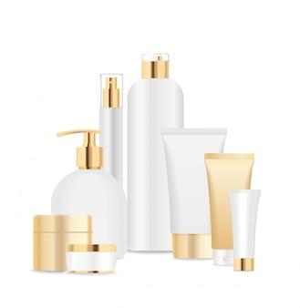Groep witte en gouden kosmetische buizen
