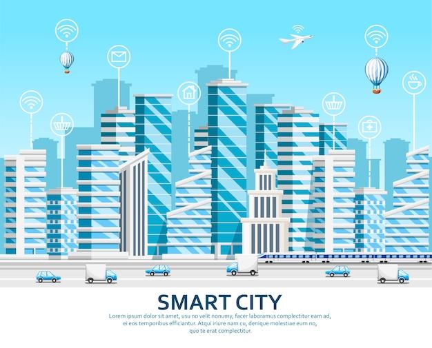 Groep wolkenkrabbers. stadselementen. slimme stadsconcept met slimme diensten en pictogrammen, internet der dingen. illustratie op hemelachtergrond. website-pagina en mobiele app.