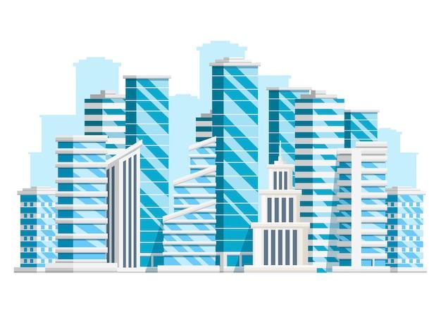 Groep wolkenkrabbers. zakelijke bouwcollectie. stadselementen. illustratie op witte achtergrond. website-pagina en mobiele app.