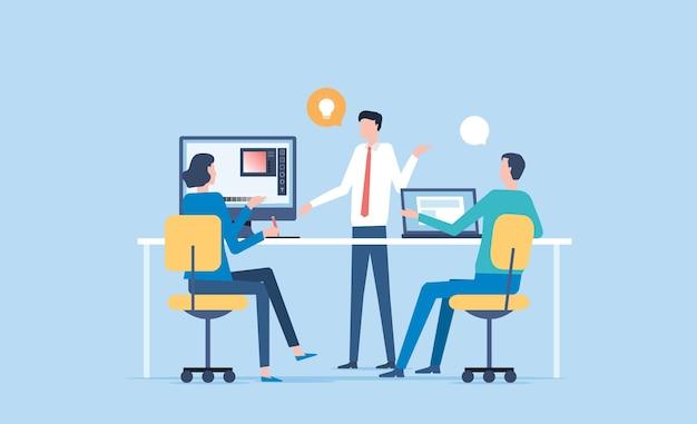 Groep zakelijke teamvergadering en brainstormen voor werkconcept