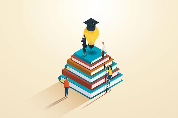 Groep zakenlieden en studenten leren en ontwikkelen zichzelf van informatie