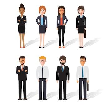 Groep zakenman en onderneemster op het werk