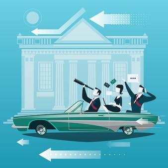 Groep zakenmanreis door auto met effectenbeurs die op achtergrond voortbouwen