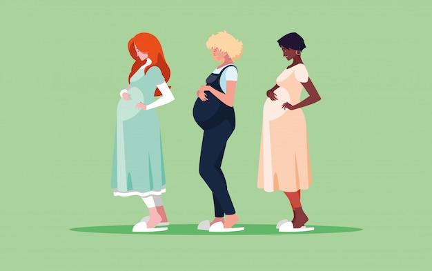 Groep zwangere vrouwen avatar karakter